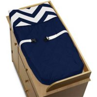 Sweet Jojo Designs Chevron Changing Pad Cover in Navy Blue and White