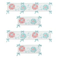 Sweet Jojo Designs Emma 4-Piece Crib Bumper Set in White/Turquoise