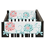 Sweet Jojo Designs Emma Short Crib Rail Guard Covers in White/ Turquoise