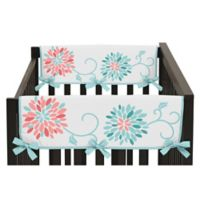 Sweet Jojo Designs Emma Short Crib Rail Guard Covers in White/ Turquoise