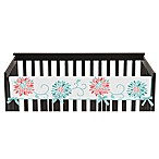 Sweet Jojo Designs Emma Long Crib Rail Guard Covers in White/ Turquoise
