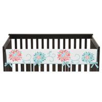 Sweet Jojo Designs Emma Long Crib Rail Guard Covers in White/ Turquoise