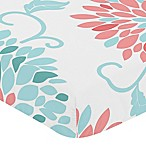 Sweet Jojo Designs Emma Print Fitted Crib Sheet in White/Turquoise