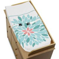Sweet Jojo Designs Emma Changing Pad Cover in White/Turquoise