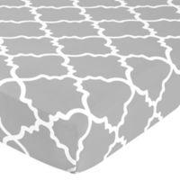 Sweet Jojo Designs Trellis Lattice Print Fitted Crib Sheet in Grey/White