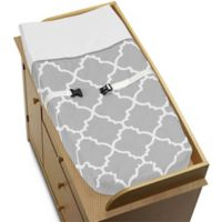 Sweet Jojo Designs Trellis Changing Pad Cover in Grey/White