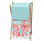 Sweet Jojo Designs Emma Laundry Hamper in White/Turquoise