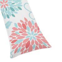 Sweet Jojo Designs Emma Body Pillow Case in White/Turquoise