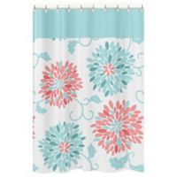 Sweet Jojo Designs Emma Shower Curtain in White/Turquoise