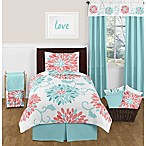 Sweet Jojo Designs Emma Twin Comforter Set in White/Turquoise