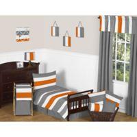 Sweet Jojo Designs Grey and Orange Stripe 5-Piece Toddler Bedding Set