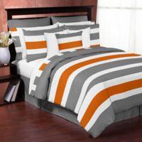 Sweet Jojo Designs Grey and Orange Stripe Full/Queen Comforter Set