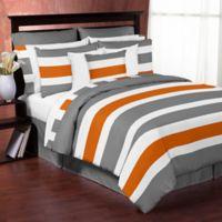 Sweet Jojo Designs Grey and Orange Stripe Twin Comforter Set