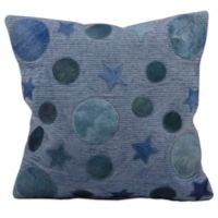 Mina Victory Leather Hide Moon and Stars 20-Inch Square Throw Pillow in Blue