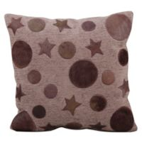 Mina Victory Leather Hide Moon and Stars 20-Inch Square Throw Pillow in Lilac