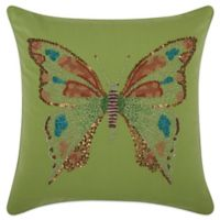 Mina Victory Butterfly 18-Inch Square Outdoor Throw Pillow in Green