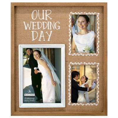 malden 3 photo our wedding day burlap collage picture frame