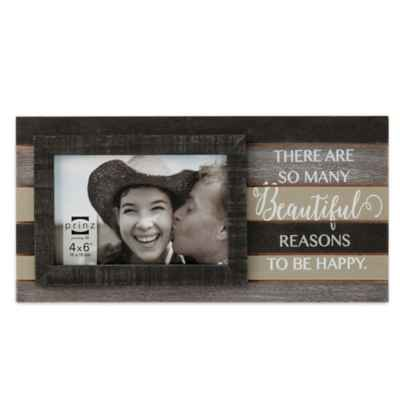 "Prinz Kendall ""There Are Many Beautiful Reasons To Be Happy"" 6-Inch x 4-Inch Picture Frame in Brown"