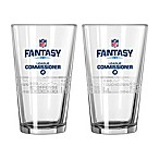 NFL Fantasy Football League Commissioner 16 oz. Satin Etched Pint Glasses (Set of 2)