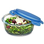 SmartPlanet 33 oz. Pure Glass Round Salad Bowl in Blue