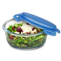 SmartPlanet 33 oz. Pure Glass Round Salad Bowl in Blue