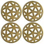 Thirstystone® Round Geometric Coaster in Gold