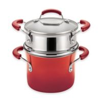 Rachael Ray™ Porcelain Nonstick Steamer Set in Gradient Red