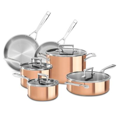 KitchenAid® Tri Ply Copper 10 Piece Cookware Set