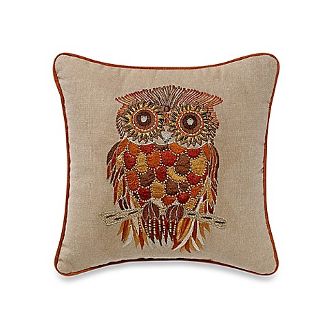 Owl Embroidered Square Throw Pillow - Bed Bath & Beyond