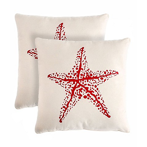 Red And Beige Throw Pillows : Star 18-Inch Square Throw Pillow in Beige/Red (Set of 2) - Bed Bath & Beyond