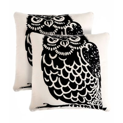 Black And Ivory Throw Pillows : Owl 18-Inch Square Throw Pillows in Black/Ivory (Set of 2) - Bed Bath & Beyond