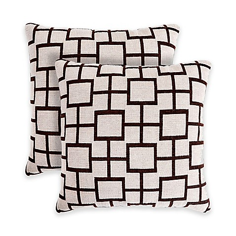Madison Square 18-Inch Decorative Pillows : Contempo Geometric 18-Inch Square Throw Pillows in Neutral (Set of 2) - Bed Bath & Beyond