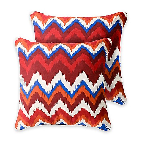 Madison Square 18-Inch Decorative Pillows : Omaha 18-Inch Square Throw Pillows in Red (Set of 2) - Bed Bath & Beyond