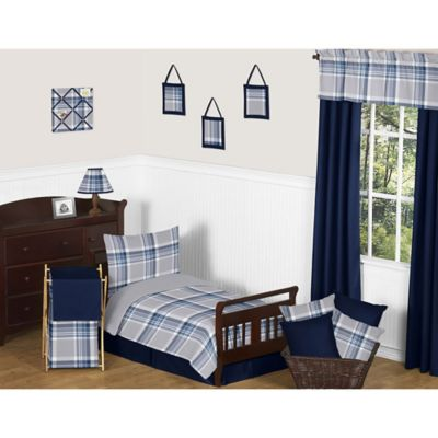 Buy set bed in a bag from bed bath beyond sweet jojo designs 5 piece navy and grey plaid toddler bedding set gumiabroncs Images