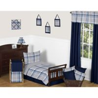 Sweet Jojo Designs 5-Piece Navy and Grey Plaid Toddler Bedding Set