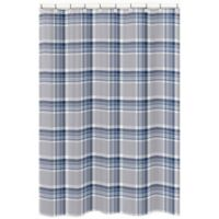 Sweet Jojo Designs Plaid Shower Curtain in Navy/Grey