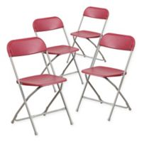 Flash Furniture Plastic Folding Chairs in Red (Set of 4)