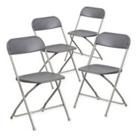 Flash Furniture Plastic Folding Chairs in Grey (Set of 4)