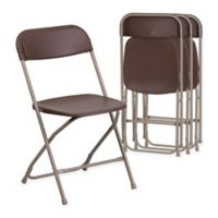 Flash Furniture Plastic Folding Chairs in Brown (Set of 4)