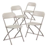 Flash Furniture Plastic Folding Chairs in Beige (Set of 4)