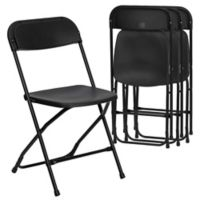 Flash Furniture Plastic Folding Chairs in Black (Set of 4)