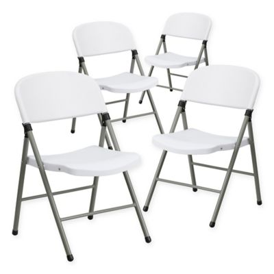 Attractive Flash Furniture Plastic Folding Chairs In Grey/White (Set Of 4)