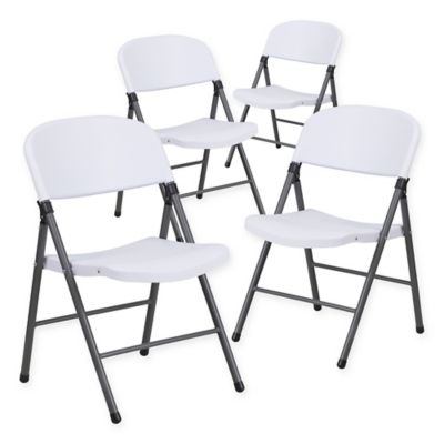 Flash Furniture Plastic Folding Chairs in Dark Grey White  Set of 4. Buy Indoor Folding Chairs from Bed Bath   Beyond
