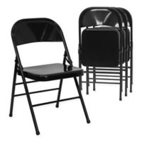 Belnick Hercules Metal 4-Pack Folding Chair Collection in Black