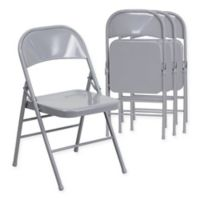 Belnick Hercules Metal 4-Pack Folding Chair Collection in Grey