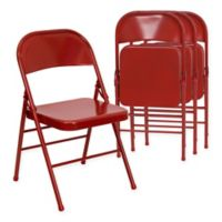 Belnick Hercules Metal 4-Pack Folding Chair Collection in Red