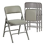 Flash Furniture Hercules Vinyl  4-Pack Folding Chair in Grey