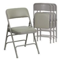 Belnick Hercules Vinyl 4-Pack Folding Chair Collection in Grey