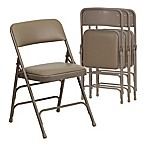 Flash Furniture Hercules Vinyl 4-Pack Folding Chair in Beige