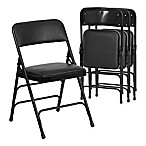 Flash Furniture Hercules Vinyl 4-Pack  Folding Chair in Black